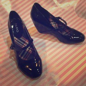 Aldo black Patent wedge heels